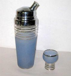 Vintage-West-Virginia-Glass-Blue-Frosted-Cocktail-Shaker-w-Platimum-Trim