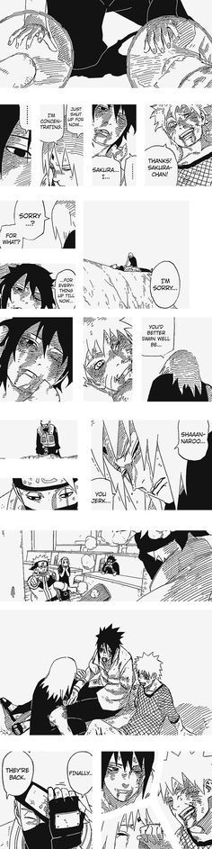 Team 7's back. And did anyone else notice that kakashi is actually crying in the last panel? I mean ( SPOILERS) he doesn't have his sharingan anymore, just a normal eye, so he has no reason to cover that eye anymore. And he chose THAT PARTICULAR MOMENT to do so. I just love that guy.