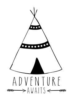 Adventure Awaits Teepee Print Nursery Print by TheKidsPrintStore. Boys & Girls Tribal Nursery and Bedroom Wall Art Decor Prints Teepee Nursery, Nursery Wall Decor, Nursery Art, Wall Art Decor, Arrow Nursery, Bedroom Wall, Bedroom Decor, Boy Wall Art, Kids Room Wall Art