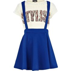 River Island Girls blue dungaree skater skirt and lace top (69 DKK) ❤ liked on Polyvore featuring dresses, kids and sale