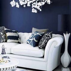 Navy walls with white accents