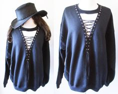 Black lace up sweatshirt dress or tunic S-XL We can custom like this picture with your own shirts .