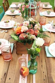 peach and flower wedding centerpiece