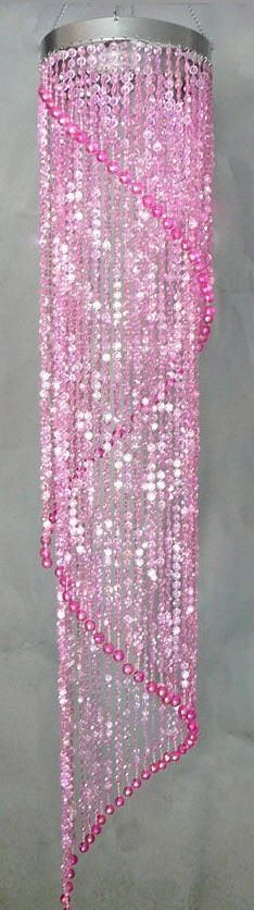 Pink Beaded Hanging Light