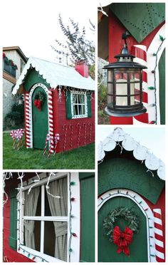 Santa's Workshop Confessions of a Serial Do-it-Yourselfer Christmas Yard Art, Candy Christmas Decorations, Office Christmas, Holiday Wreaths, Christmas Projects, Christmas Lights, Christmas Holidays, Winter Wreaths, Spring Wreaths