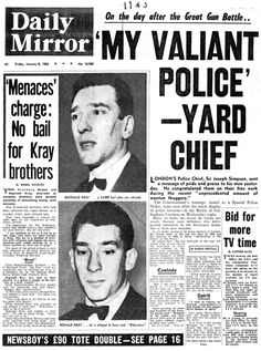 The Krays, Vintage Newspaper, Newspaper Headlines, Police Chief, Twin Brothers, Old London, What Goes On, Serial Killers, Mug Shots
