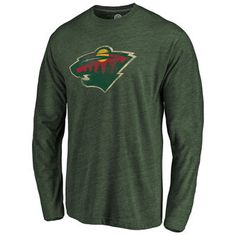 Minnesota Wild Green Primary Logo Tri-Blend Long Sleeve T-Shirt