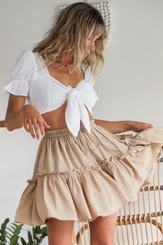 FAVE! Endless Summer Skirt - Sand | 100% cotton skirt with self tie! Perfect for summer!