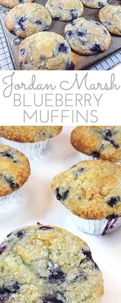 Jordan Marsh Blueberry Muffins served at Jordan Marsh. Legend in the Boston area for decades. Gigantic blueberry muffins with sugary, crunchy muffin tops. allie @ Through Her Looking Glass Muffin Recipes, Baking Recipes, Breakfast Recipes, Dessert Recipes, Yummy Recipes, Just Desserts, Delicious Desserts, Yummy Food, Cupcakes