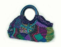 Handbag OOAK Freeform Crochet  Urban Grunge by Renate Kirkpatrick of rensfibreart