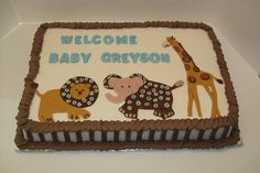 http://cakedecoratingcoursesonline.com/cake-decorating/ Greyson's Baby Shower Cake. #Create Your Own #Baby #Shower #Cake - Learn How to #Decorate Cakes - Visit Online Cake Decorating Classes on http://CakeDecoratingCoursesOnline.com