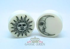 "Sun & Moon Plugs / Gauges 4g / 5mm, 2g / 6.5mm, 0g / 8mm, 00g /10mm, 1/2"" /12.5mm, 9/16"" /14mm, 5/8"" /16mm, 3/4"" /19mm, 7/8"" /22mm, 1"" /25mm by TheGaugeQueen on Etsy https://www.etsy.com/listing/153537080/sun-moon-plugs-gauges-4g-5mm-2g-65mm-0g"