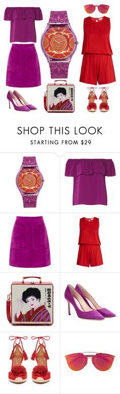 """Swatch: Shantaram Purple"" by kaytekix ❤ liked on Polyvore featuring Swatch, Dorothy Perkins, L.K.Bennett, Le Kasha, Olympia Le-Tan, Jimmy Choo, Aquazzura and Christian Dior"