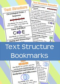 Text Structure reference bookmarks with graphic organizers, clue words, and example passages.  Includes: Chronological order & sequence, cause and effect, posing and answering a question, main idea and details, and comparison and contrast & similarities and differences.