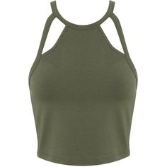 Miss Selfridge Khaki 90's Cutout Crop ($5) ❤ liked on Polyvore featuring tops, crop tops, shirts, tanks, khaki, cotton jersey shirt, strap crop top, jersey top, cotton shirts and spaghetti-strap top