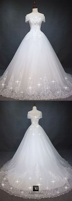 Marvelous tulle off-the-shoulder neckline ball gown wedding dress with pearls ., Marvelous Tulle Off-the-Shoulder Neckline Ball Gown Wedding Dress with Pearls . - Wedding and Bride Marvelous Tulle Off-the-Shoulder Neckline Ball G. Dream Wedding Dresses, Bridal Dresses, Wedding Gowns, Tulle Wedding, Ball Gown Wedding, Wedding Dress Princess, Wedding Dress 2018, Weeding Dress, Dress Prom