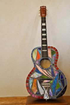 Stained glass mosaic guitar Array of Lightning by amcarzoli, $300.00