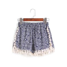 SheIn(sheinside) Blue Elastic Waist Cashew Print Tassel Shorts ($12) ❤ liked on Polyvore featuring shorts, bottoms, sheinside, blue, shourouk, patterned shorts, stretch waist shorts, elastic waistband shorts and print shorts