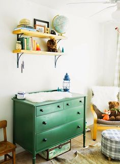 Harry's Vintage Eclectic Nursery By Christy Nicole Photography // Fawn Over Baby Nursery Themes, Nursery Room, Nursery Ideas, Project Nursery, Room Ideas, Baby Boy Rooms, Baby Boy Nurseries, Green Shelves, Green Drawers