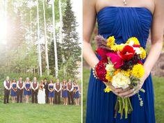 Cobalt blue bridesmaids with gorgeous accent colors in flowers #weddings