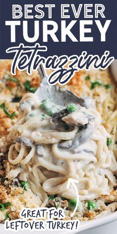 Chicken Tetrazzini Recipes, Chicken Recipes, Easy Turkey Tetrazzini, Turkey Tetrazini, Leftovers Recipes, Dinner Recipes, Turkey Leftovers, Pasta Dishes, Chicken