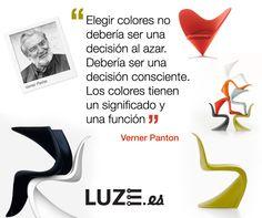 Elegir colores no debería ser una decisión al azar. Debería ser una decisión consciente. Los colores tiene un significado y una función. Verner Panton #quotes #colores #design