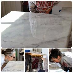 Kitchen Countertop glossy faux marble countertop tutorial, with high protection epoxy sealer. Batchelors Way on Remodelaholic - Faux Marble Countertop, Outdoor Kitchen Countertops, Marble Countertops, Recycled Countertops, Kitchen Counters, Faux Concrete Countertops, Stone Coat Countertop, Painting Laminate Countertops, Kitchen Cabinets