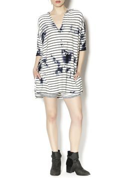 Hooded long sleeve black on white stripe top with blue blotches