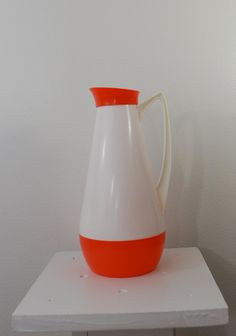 Vintage PITCHER Orange and White modern 1960's or 70's on Etsy