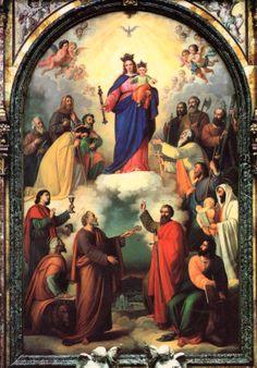 MARIA AUXILIADORA DE LOS CRISTIANOS, invocación letánica que San Juan Bosco hizo plasmar en esta pintura. Santuario de Turín, siglo XIX.