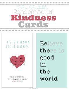Random Act of Kindness Card Printables!  Capturing-Joy.com