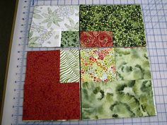 "Slashed squares- quick way to use stash fabrics. End up with a 14.5"" block (Use 7"" center squares. Sew 4-1/2"" wide strips to each side. Then cut so the upper left square is 6.5"". shuffle and sew blocks together)"