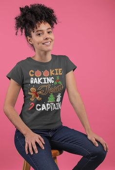 Women's Christmas T Shirt Cookie Baking Team Captain Matching Xmas Shirts Cute Graphic Baker Xmas Tee