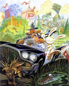Sam & Max Hit the Road cover art (LucasArts for DOS, 1993). Steve Purcell.