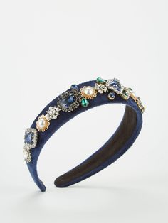 V by Very Embellished Headband - Navy High Leg Boots, Royal Navy, Long Toes, Gemstone Colors, Fabric Material, Hair Band, Calves, Latest Fashion, Jewels