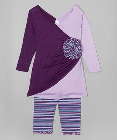 Plum Wrap Dress & Striped Leggings