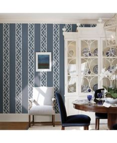 Mica-infused ink accents add flashes of shine to this trellis stripe pattern for a traditional look with contemporary influence. The metallic silver touches add a fun twist to the classic light navy and white pairing. Wallpaper Samples, Home Wallpaper, Trellis Wallpaper, Sarah Richardson, Granny Chic, Striped Wallpaper, Traditional Looks, Space Furniture, Dining Chairs