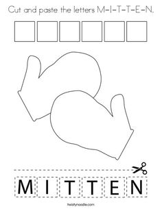 Cut and paste the letters M-I-T-T-E-N Coloring Page - Twisty Noodle People Coloring Pages, School Sports, Winter Is Here, Cut And Paste, Kids Prints, Cursive, Winter Sports, Food Coloring, Mini Books