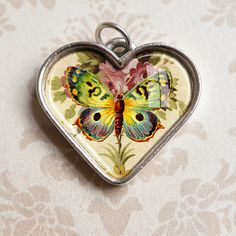 Butterfly Heart Jewelry  Antiqued Silver Pendant by GeorgiannaLane