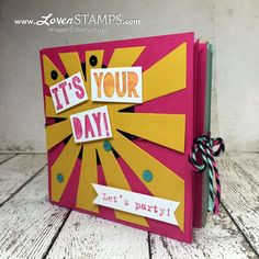 LovenStamps: Pop Up Corner Albums - a how to video tutorial with Party With Cake and the Party Pop-Up Thinlits, for Stamps in the Mail Club with Meg