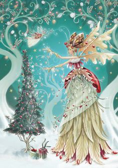 Winter fairy This is one of the prettiest faery pictures I've seen. Illustration Noel, Christmas Illustration, Vintage Christmas Cards, Christmas Pictures, Winter Fairy, Christmas Fairy, Xmas, Christmas Cross, Winter Christmas