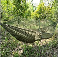 LuckyAngel Double Person Hammock Parachute Portable Outdoor Camping Indoor Home Garden Sleeping Hammock Bed 300kg Max Loading