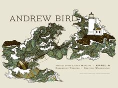 Andrew Bird gig poster by Frida Clements