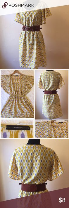 Yellow print v-neck dress size S from Nordstrom Yellow print v-neck lightweight dress size S from Nordstrom. 100% Polyester. Elastic at waist. Made in USA. Beautiful front. Belt not included. Love the sleeve style. Easy breezy sundress. Great condition Soprano Dresses Mini