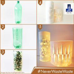 Carve your favorite designs on a paper wth the help of a paper cutter, put some Diwali lights in a waste plastic bottle, stick the paper around the bottle and voila! You just got a beautiful lamp to decorate your home! #NeverWasteWaste
