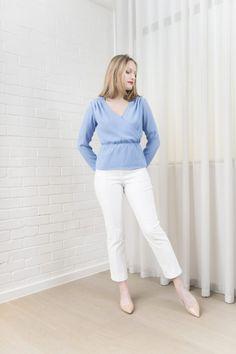 PETITE Cigarette Trousers in White by Bomb Petite :: BombPetite.com