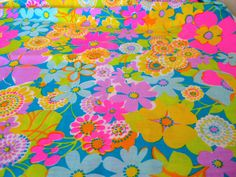 1960's Vintage Groovy Neon Flower Power Fabric One by NehiandZotz, $20.00