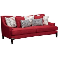 Paris Red Sofa ($800) ❤ liked on Polyvore featuring home, furniture, sofas, parisian furniture, nailhead trim sofa, nail head sofa, nailhead couch and red furniture