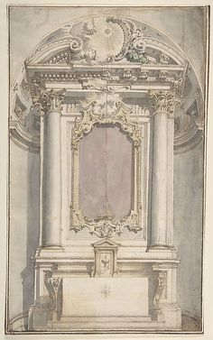Designs for an Altar in a Niche Architecture Antique, Sacred Architecture, Classic Architecture, Architecture Drawings, Sustainable Architecture, Architecture Details, Landscape Architecture, Ornament Drawing, Architectural Elements