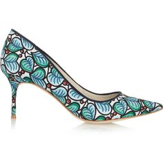 J.Crew + Sophia Webster printed twill pumps (85.440 CRC) ❤ liked on Polyvore featuring shoes, pumps, teal, high heel pumps, print pumps, teal shoes, slip on shoes and j.crew